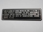 HONDA  03-70 Int not USA use