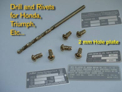 RIVETS / Calibrate drill tip - To use with hole 2 mm