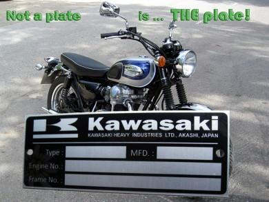 KAWASAKI  - VIN PLATE  serie 3